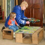 Tabitha Hartshorn with her Grandma  deceased Patricia Harshorn at the Barn at Melbourne scenery painting.jpg