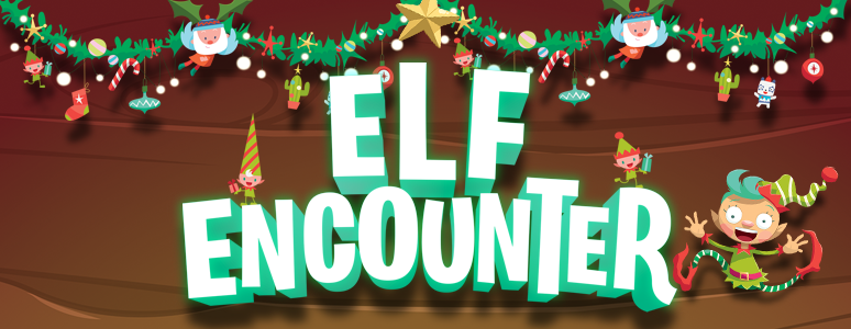 Elf encounter title, cartoon elves and toys