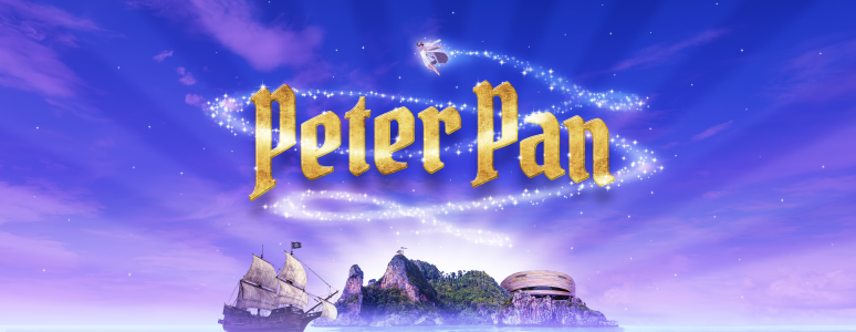 Peter pan title surrounded by fairy dust