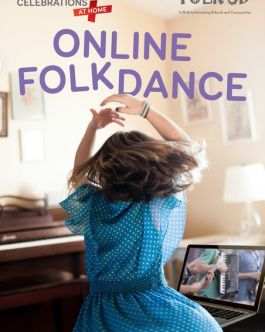 girl in folk dress dancing in front of laptop  with logos for FOLK 3D