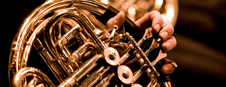 Brass musical instruments close up