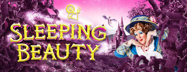 Sleeping Beauty artwork with name of show and dame peering out from behind thorns