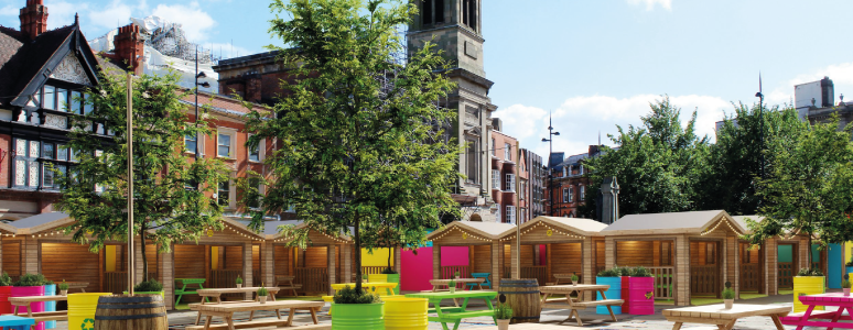 Artist impression of new marketplace outside Guildhall theatre