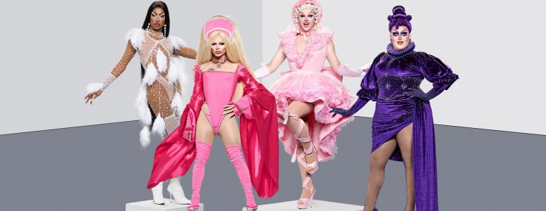 Four drag queens on podiums dressed in white, dark pink, pale pink and purple outfits
